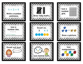 Math Strategy Mini Anchor Posters/Charts for Addition and Subtraction