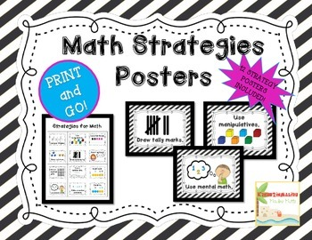 Math Strategy Mini Anchor Posters/Charts for Addition and