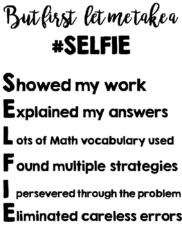 Math Strategy Poster - Math Poster -But first let me take a selfie-SELFIE poster