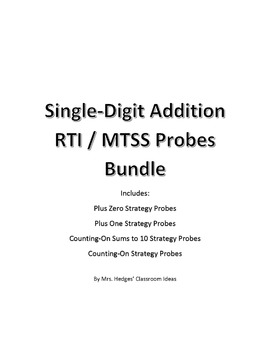 Basic Addition Math Strategy Probes for RTI / MTSST Bundle