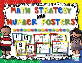 Math Strategy and Number Posters {Primary Colors-per request}