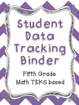 Math Student Data Tracking Binder including NEW 5th grade TEKS