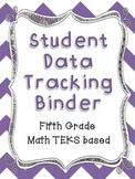 Math Student Data Tracking Binder including NEW 5th grade TEKS