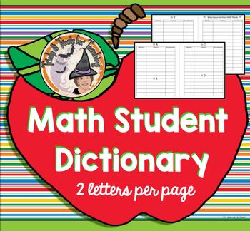 Math Student Dictionary Vocabulary Half Page Printable Alp