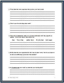 Student Math Information Form for the Beginning of School