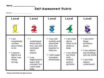 Math Student Self-Assessment Rubric with Posters
