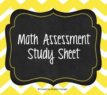 Math Study Sheet