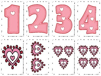 Math Subitizing Cards For Teaching Number Sense / Valentine's Day Themed
