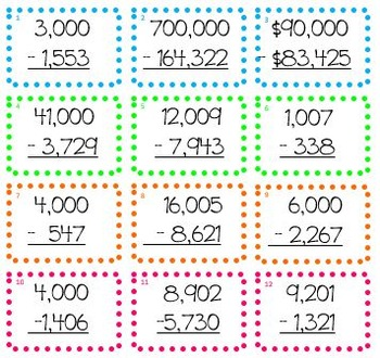 Math Subtract Across Zeros Activity (Common Core Aligned)