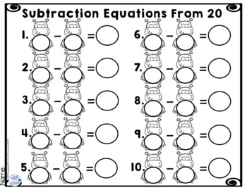 Math Subtraction Equations From 5, 10, 15, 20: Monster Subtraction Fun