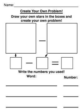 Math Subtraction Star Worksheets 1-5 (Full Color + Black and White)