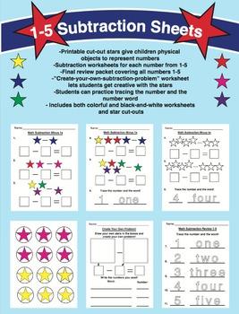 Math Subtraction Star Worksheets 1-5 (Full Color + Black a