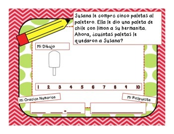 Math Subtraction Story Problems In Spanish For Grades K-2