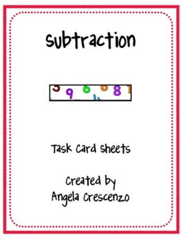 Math Subtraction Task Card Sheets
