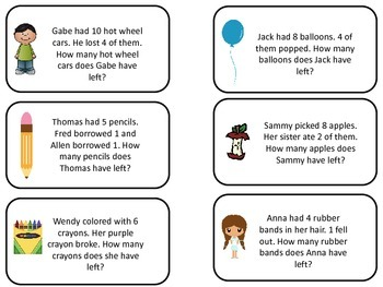 Math Subtraction Word Problems Flash Cards. Preschool flash cards for children.