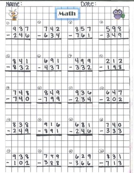 Math Subtraction sheets