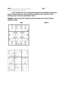Math Sudoku - Great Emergency Sub Plan