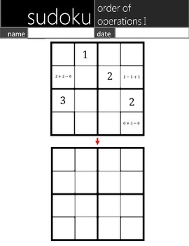 Math Sudoku Level 1-2: Order of Operations [Common Core (C