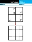 Math Sudoku Level 4: Squares+Square Roots [Common Core (CC) Supplement]