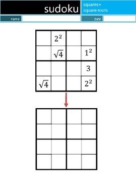Math Sudoku Level 4: Squares+Square Roots [Common Core (CC