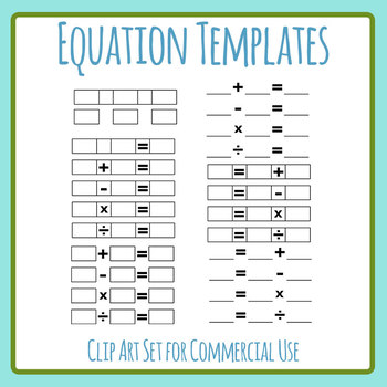 Math Sum / Equation Templates Clip Art Set Commercial Use