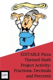 EDITABLE Math Summative Pizza Themed Project for Fractions, Decimals and Percent