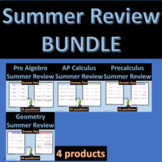 High School Math Summer Review Bundle EDITABLE