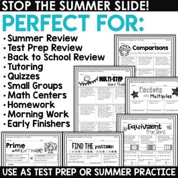 Math Summer Skills Review NO PREP Packet (4th Grade)