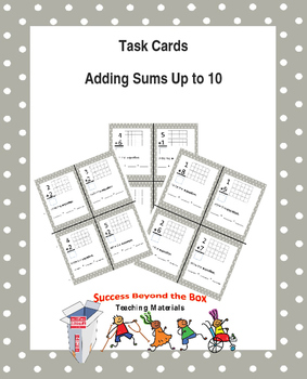 Math: Sums to 10 Task Cards using Base Ten Tiles