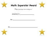 Math Superstar Award Freebie
