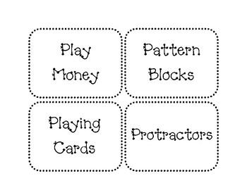 Math Supply Labels