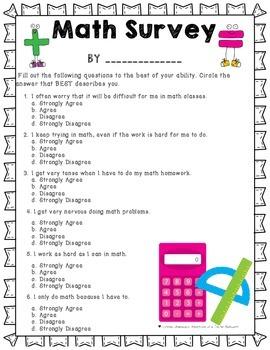 Math Survey- Beginning of the Year