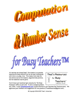 Math Survey/PreTest - Computation & Number Sense for Busy Teachers