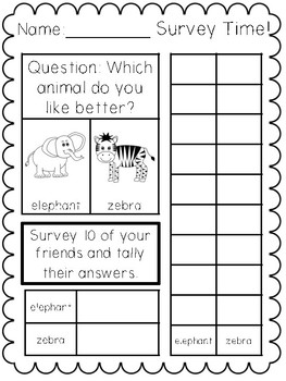 Math Surveys for Kinders