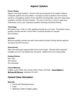 Math Syllabus, Parent Letter