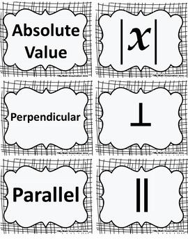 Math Symbol Matching Card Set - Geometry, Algebra, Computation, & more!
