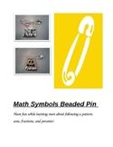 Math Symbols Beaded Pin
