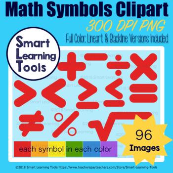 Math Symbols Clip Art Set - Basic Color Edition