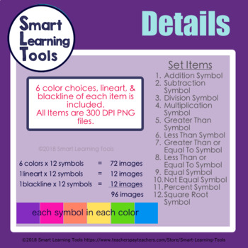 Math Symbols Clip Art Set - Bright Colors Edition
