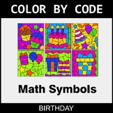 Math Symbols - Color by Code / Coloring Pages - Birthday