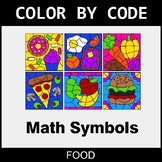 Math Symbols - Color by Code / Coloring Pages - Food