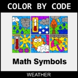 Math Symbols - Color by Code / Coloring Pages - Weather