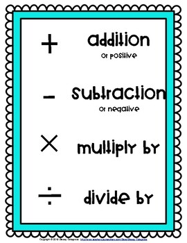 Math Symbols Posters in four bright colors