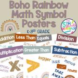 Math Symbols Posters with a Boho Rainbow Neutral Theme K-3