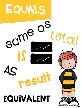 Math Symbols Posters with a Bumblebee Bee Theme K-3rd Grade