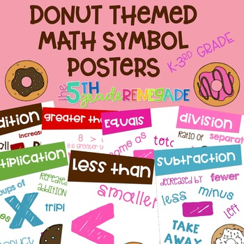 Math Symbols Posters with a Donut Doughnut Theme K-3rd Grade