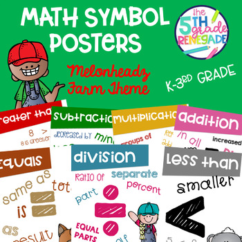 Math Symbols Posters with a Farm Theme K-3rd Grade