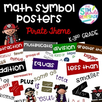 Math Symbols Posters with a Pirate Theme K-3rd Grade