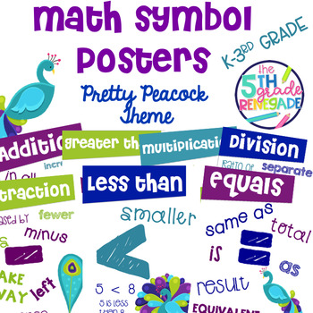 Math Symbols Posters with a Pretty Peacocks Theme K-3rd Grade