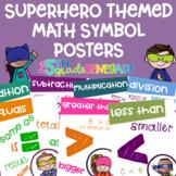 Math Symbols Posters with a Superhero Kids Theme K-3rd Grade